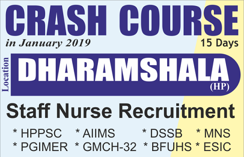 Staff Nurse Recruitment 15 Days Crash Course in Dharamshala HP